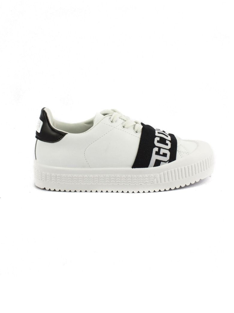 Gcds White Leather Sneaker With Black Elastic Logo Band. In Nero ... b538369dfab07