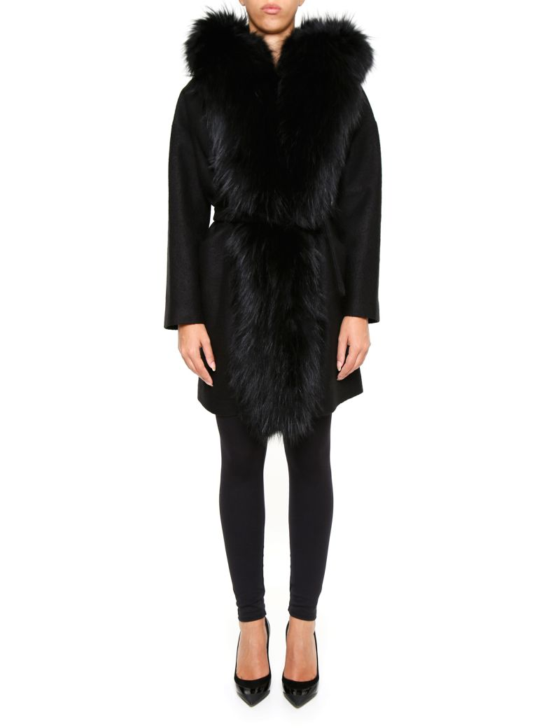 AVA ADORE BOILED WOOL COAT WITH HOOD