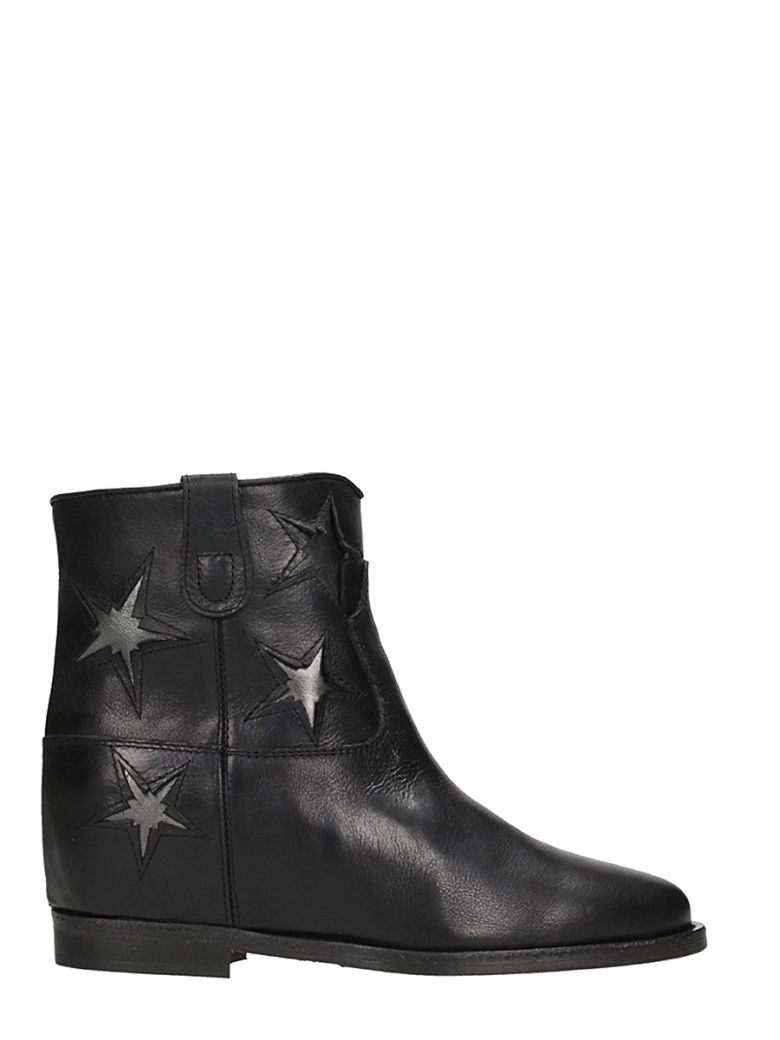 STAR BLACK CALF LEATHER WEDGE ANKLE BOOTS