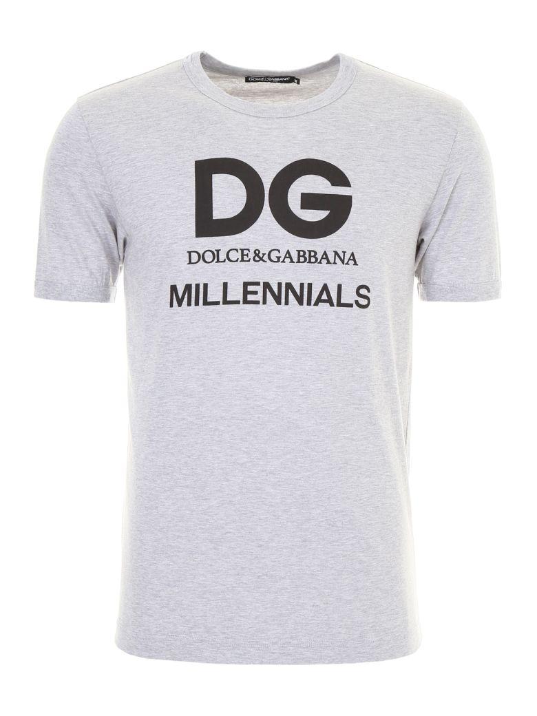 DOLCE & GABBANA Jersey T-Shirt With Dg Millennials Print, Melange Grigiogrigio
