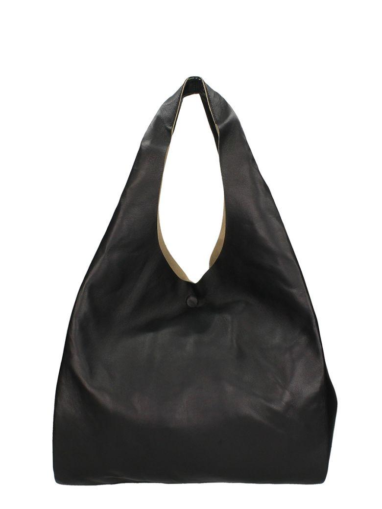 BLACK LEATHER FOLDOVER TOTE BAG