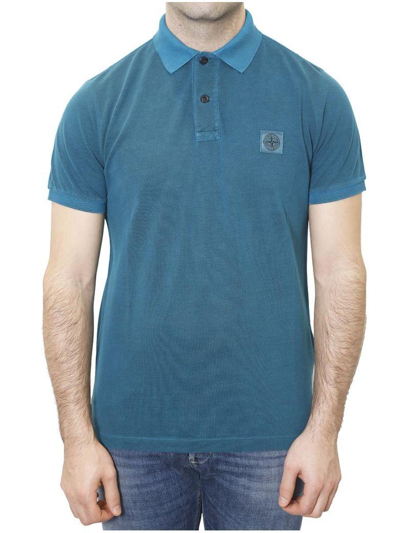 Stone Island Pique Polo Shirt In Blue Modesens