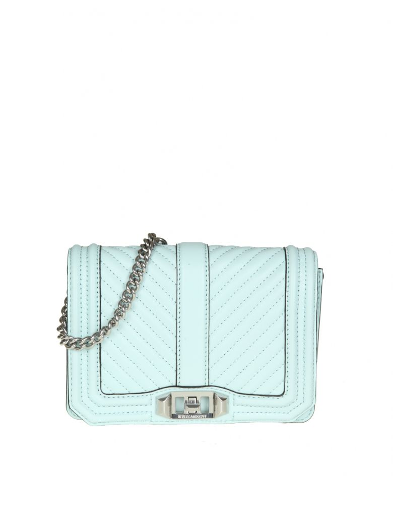 CHEVRON QUILTED LOVE CROSSBODY IN AQUAMARINA LEATHER