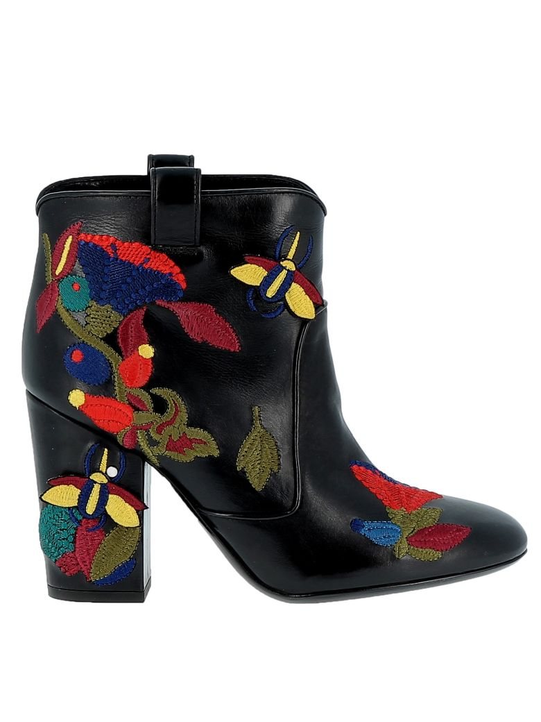 LAURENCE DACADE Woman Embroidered Leather Ankle Boots Black