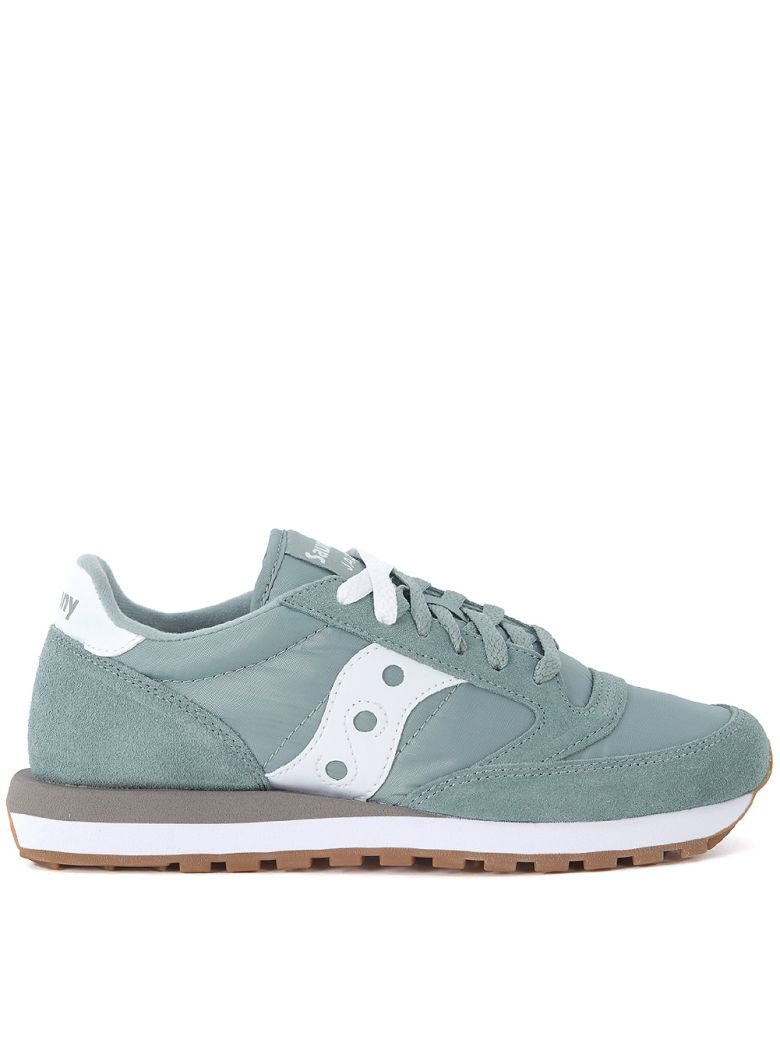 JAZZ GREEN AND WHITE SUEDE AND NYLON SNEAKER