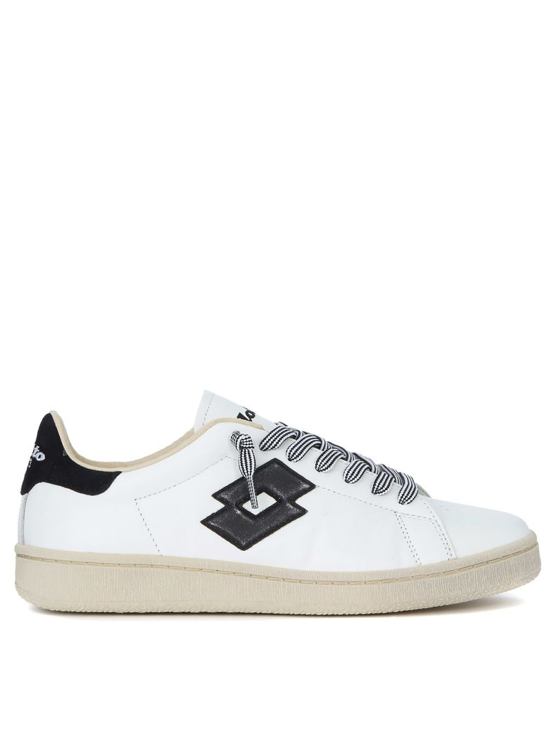 LOTTO LEGGENDA Autograph Black And White Leather Sneaker in Bianco