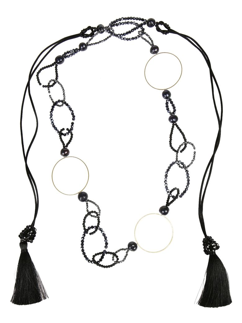 NIGHT MARKET Ring Long Necklace in Black