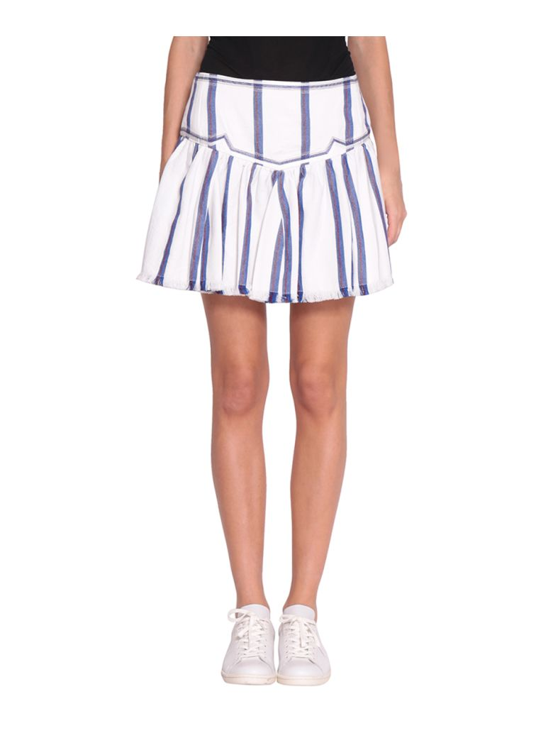 ETOILE ISABEL MARANT Delia Embroidered Striped Woven Cotton Mini Skirt in Blue