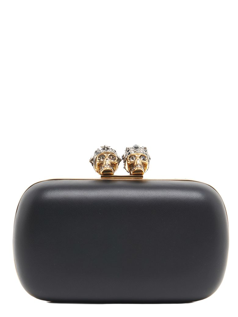 QUEEN AND KING EMBELLISHED LEATHER CLUTCH