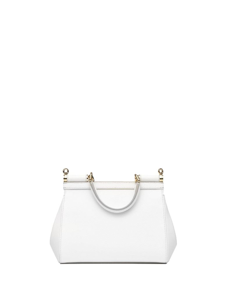 DOLCE   GABBANA Small White Dauphine Leather Sicily Bag, Bianco ... b39746a3c3