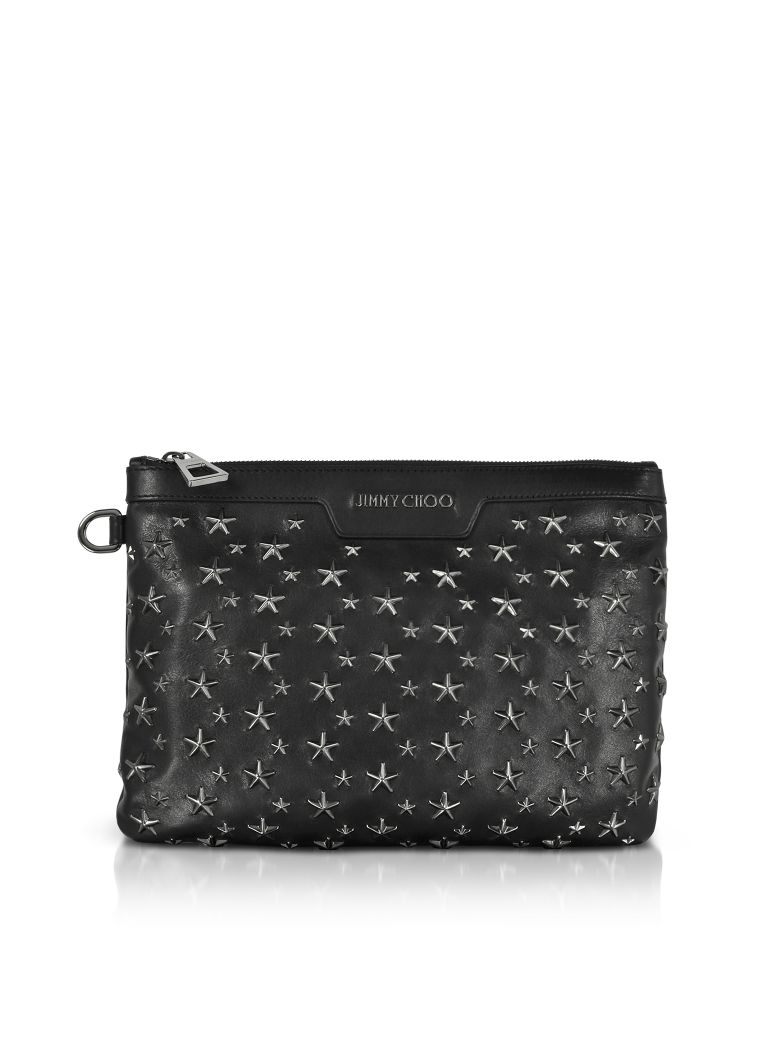 BLACK-GUNMETAL DEREK-S SMALL CLUTCH W-STARS