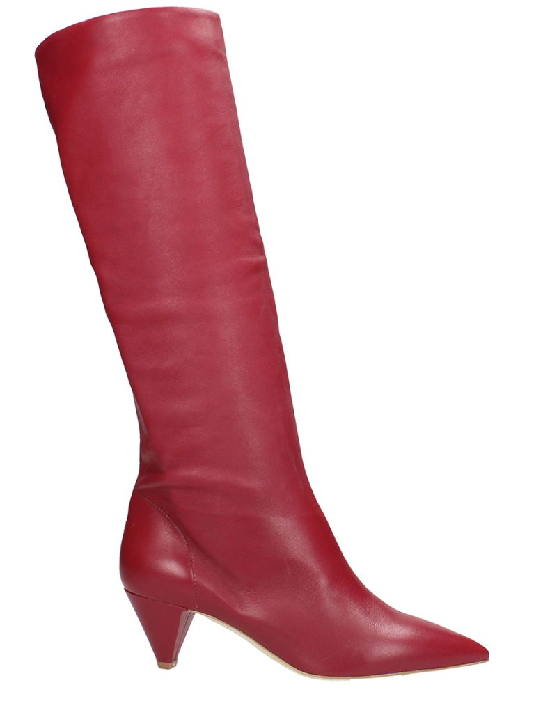 POINTED TOE RED CALF LEATHER BOOTS