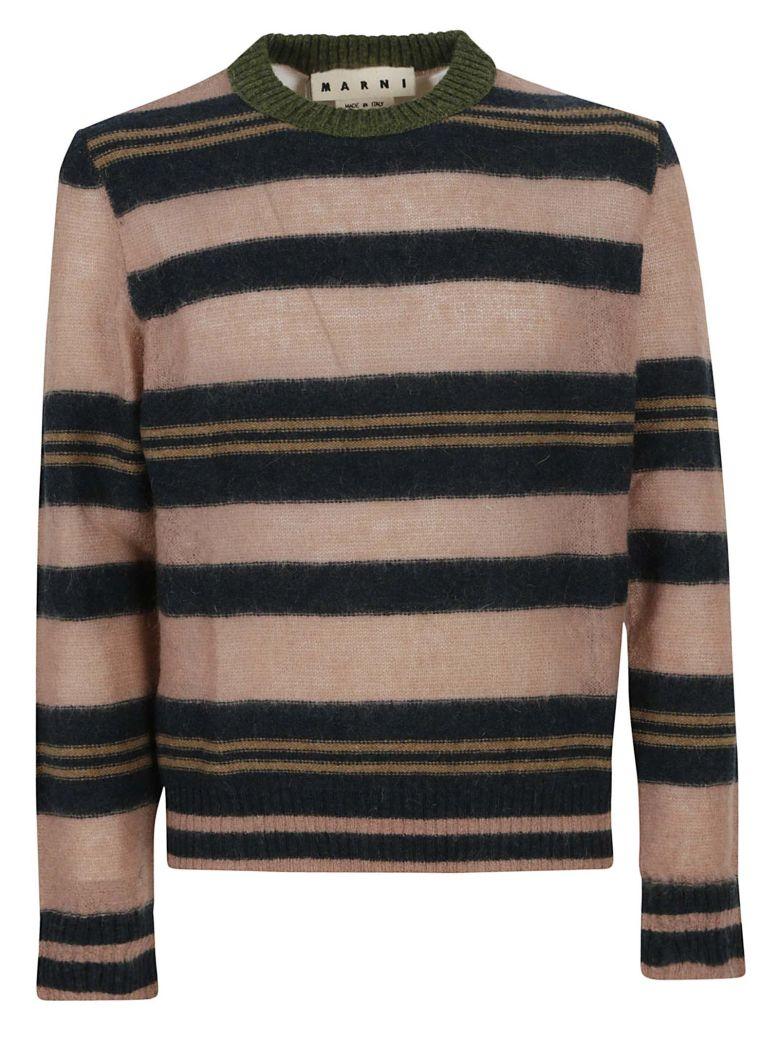 MARNI Striped Crewneck Sweater, Rose-Green-Blue