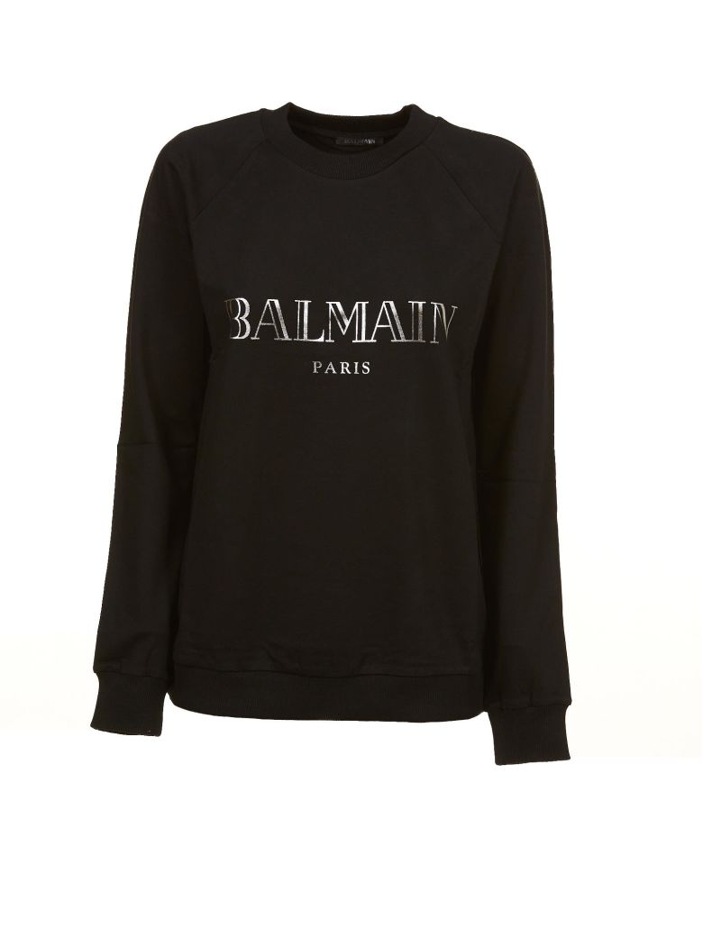 Round Neck Sweatshirt With Glittered Logo in Black