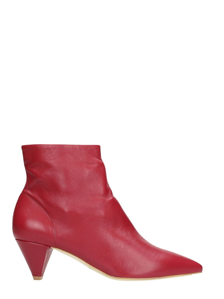 THE SELLER POINTED TOE RED CALF LEATHER ANKLE BOOTS
