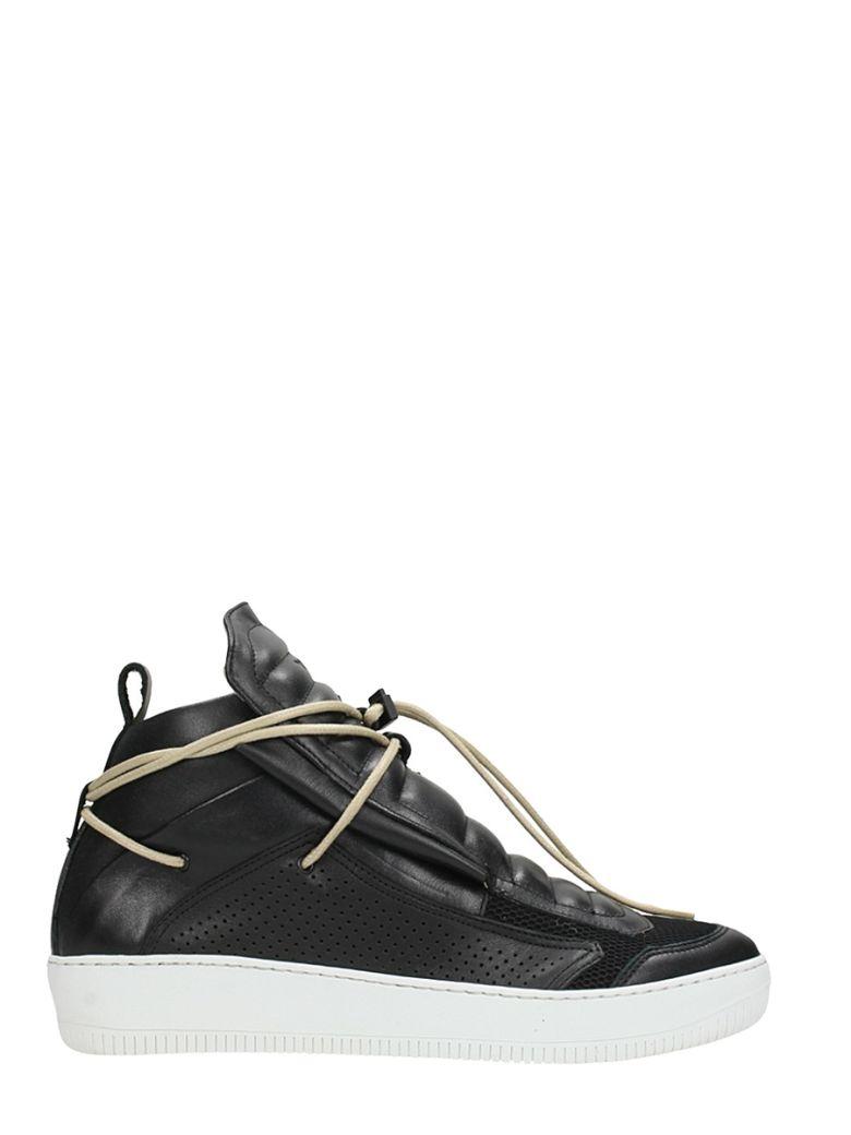 YLATI FOOTWEAR BLACK LEATHER SNEAKERS