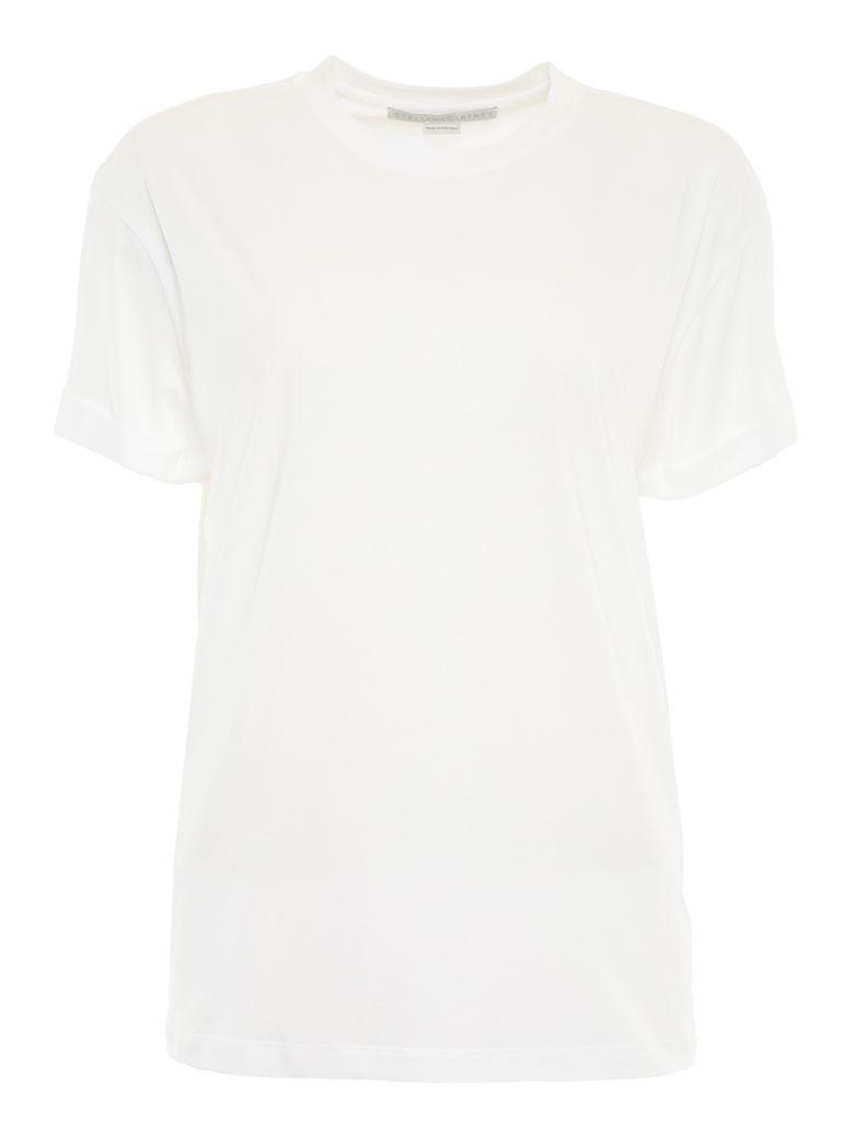 Stella McCartney Crew Neck T-shirt With Logo Print - PURE WHITE BLACK|Bianco