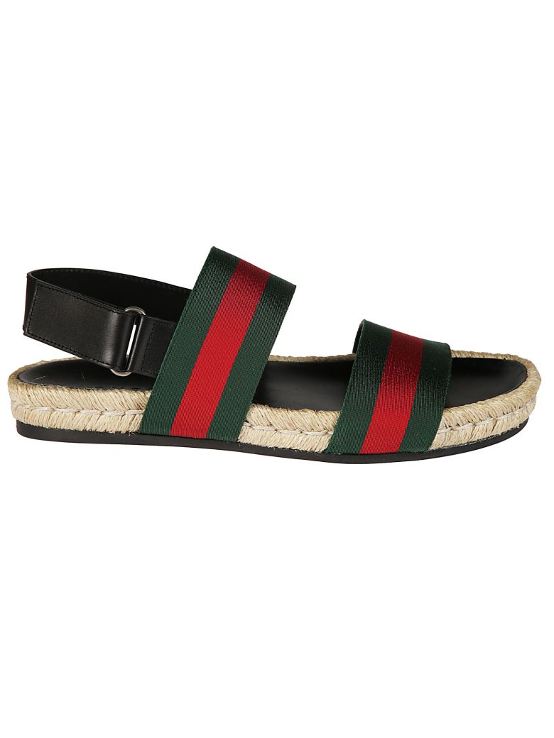 cb4826786a1 Gucci Juan Web-Striped Leather And Canvas Sandals In Green