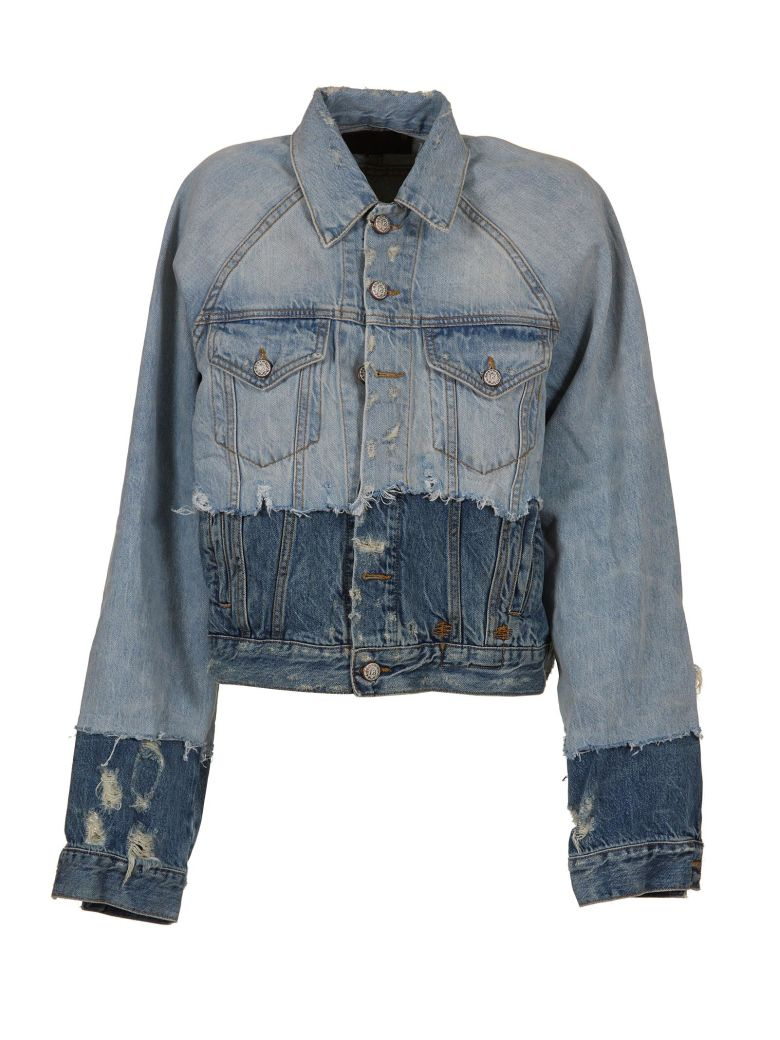 R13  CONTRAST DISTRESSED JACKET
