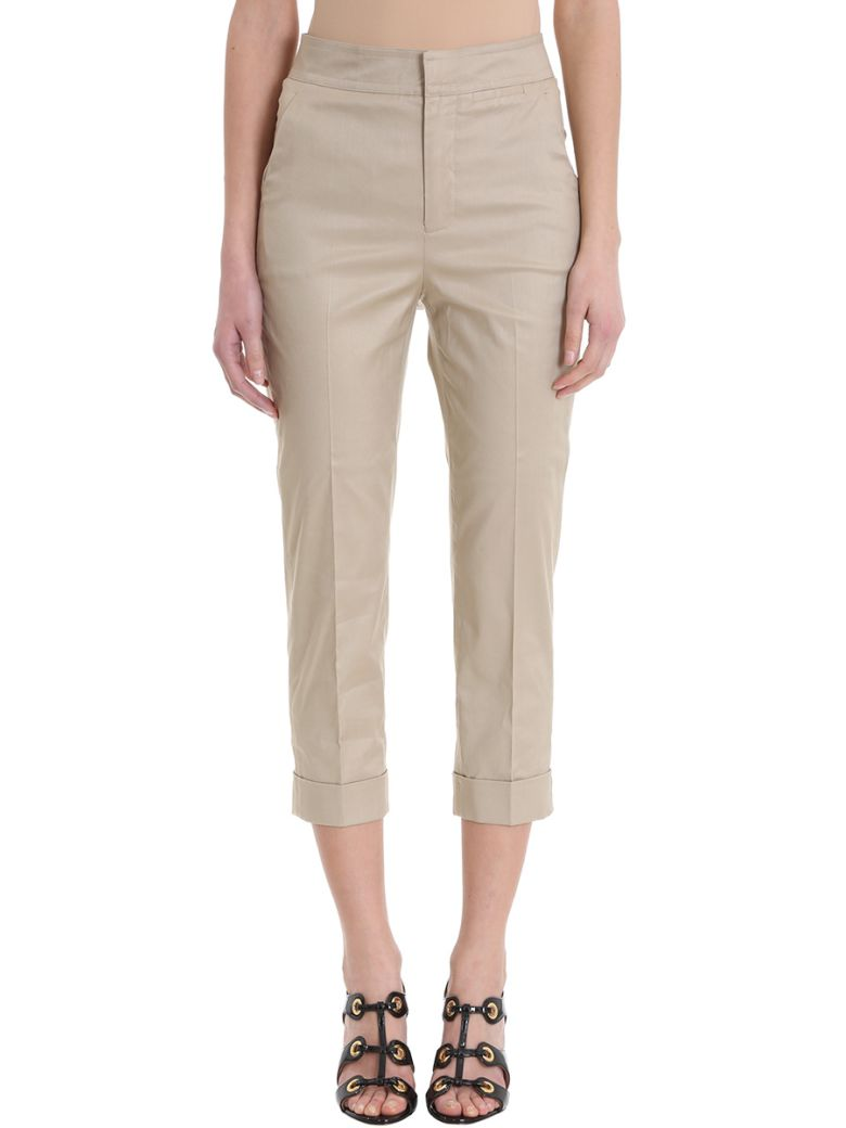 CROPPED BEIGE COTTON TROUSERS