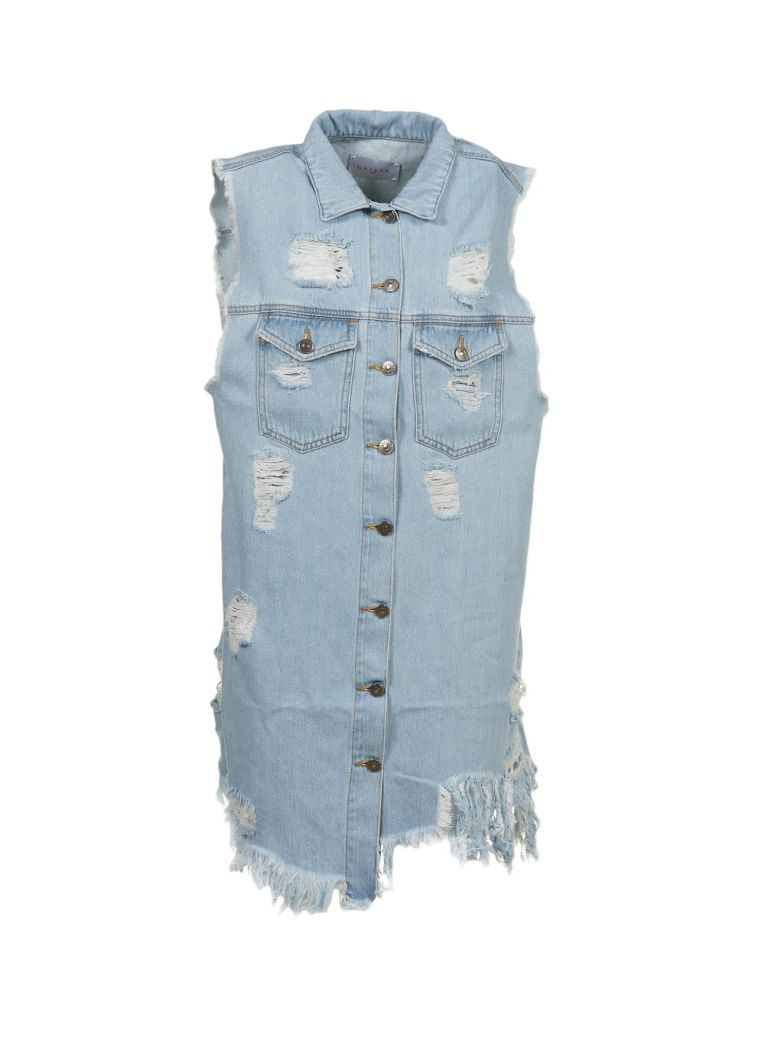 Gaëlle Bonheur RIPPED DENIM SHIRT DRESS