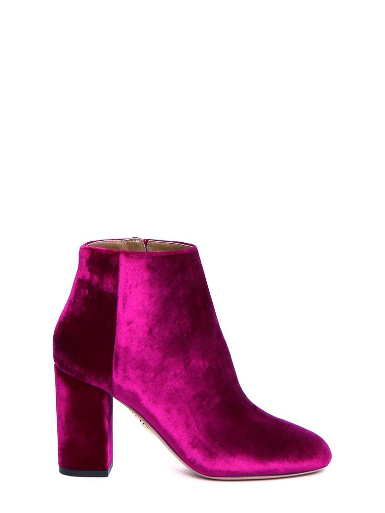 Pink Brooklyn 85 Velvet Ankle Boots - Pink & Purple Aquazzura H43OLKoH