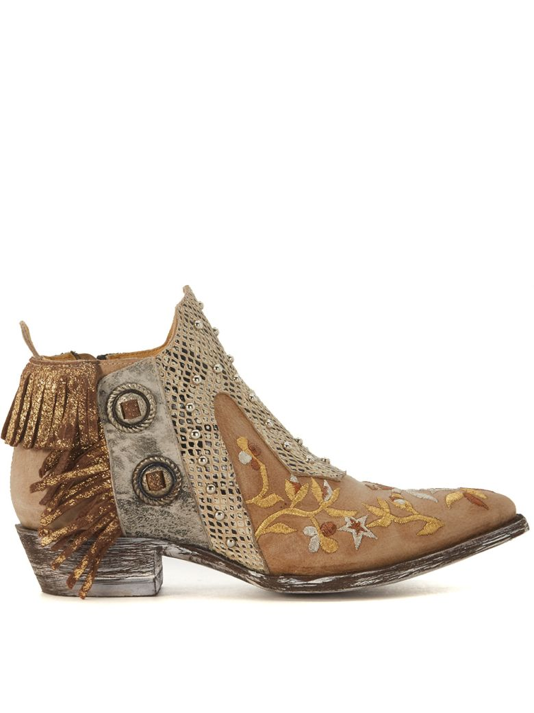 MEXICANA CORUS BEIGE LEATHER ANKLE BOOTS WITH FRINGES AND FLORAL EMBROIDERY
