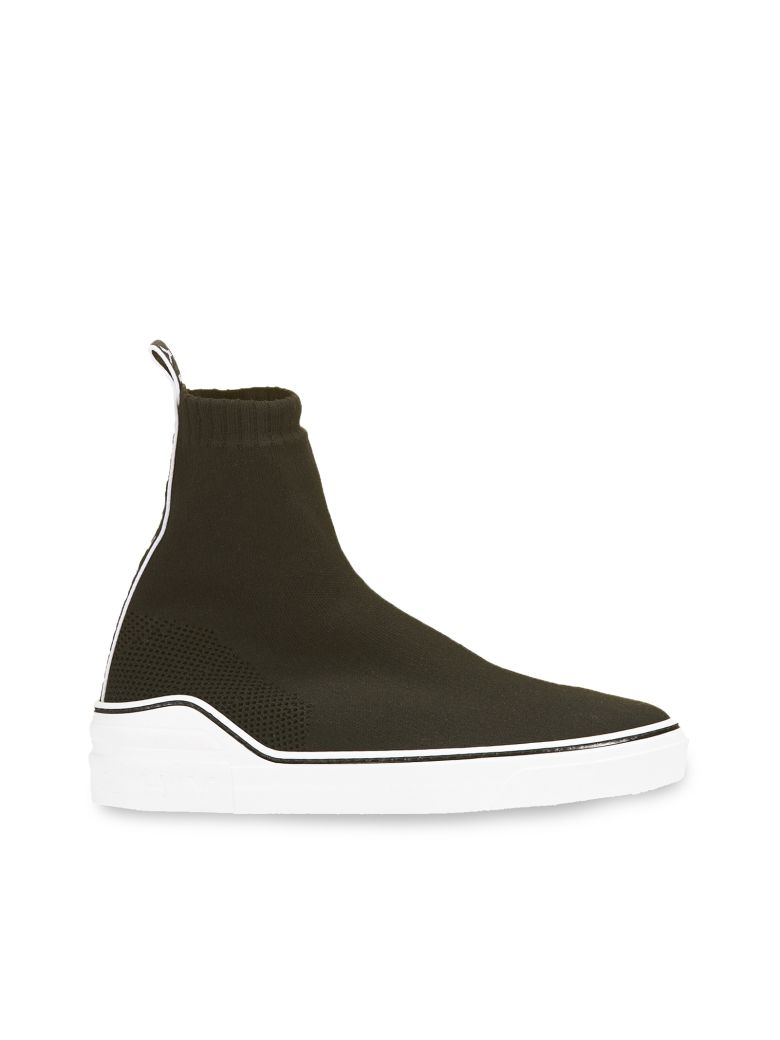 George V Logo-Jacquard Stretch-Knit High-Top Slip-On Sneakers - Black