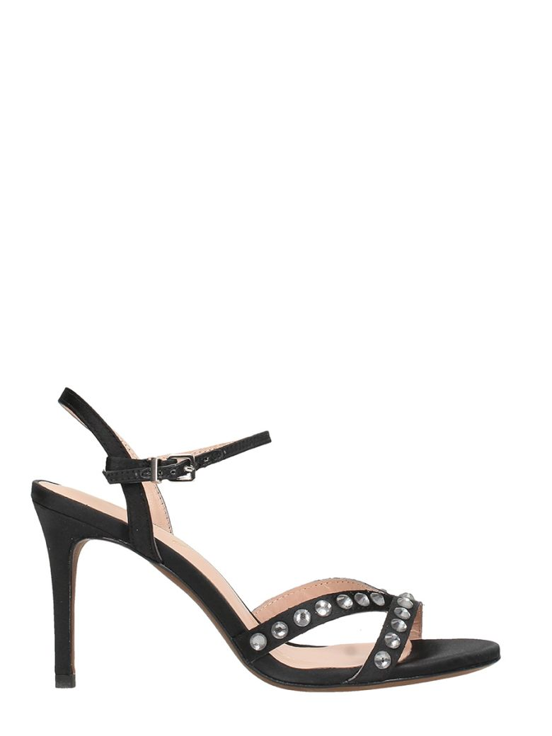 LOLA CRUZ BLACK SATIN SANDALS