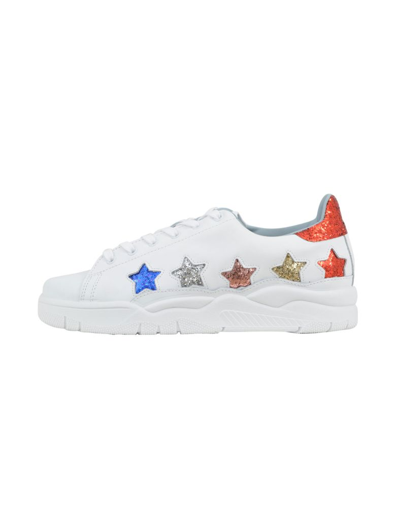 White Leather Laced Roger Sneakers With Glitter Multicolor Stars from FRMODA