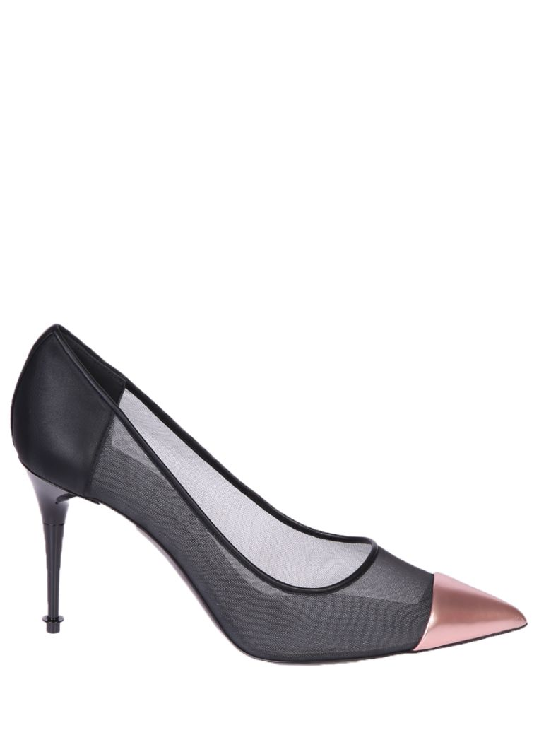 METALLIC LEATHER AND MESH PUMPS