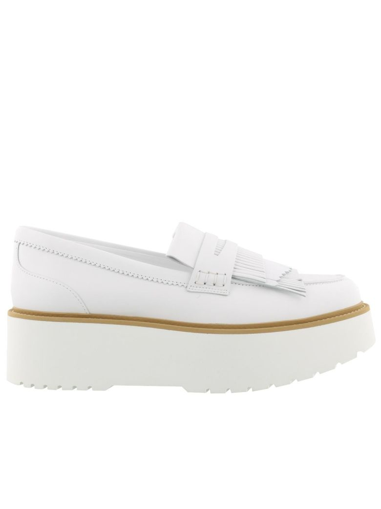 Route H355 Fringed White Leather Loafers