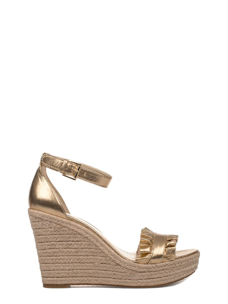 GOLD BELLA LEATHER WEDGE SANDAL