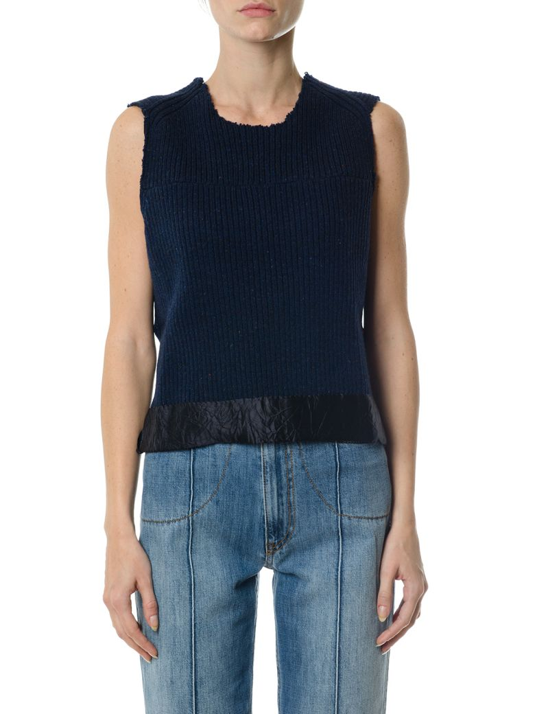Maison Margiela  WOOL TOP WITH FAUX LEATHER INSERT
