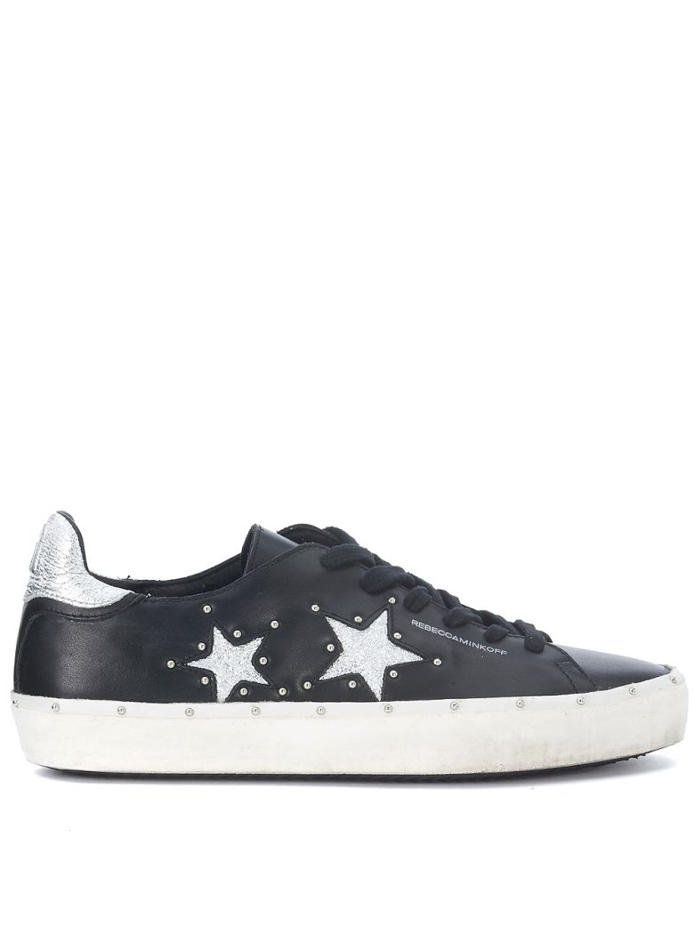 MICHELL BLACK AND SILVER LEATHER SNEAKER WITH STUDS