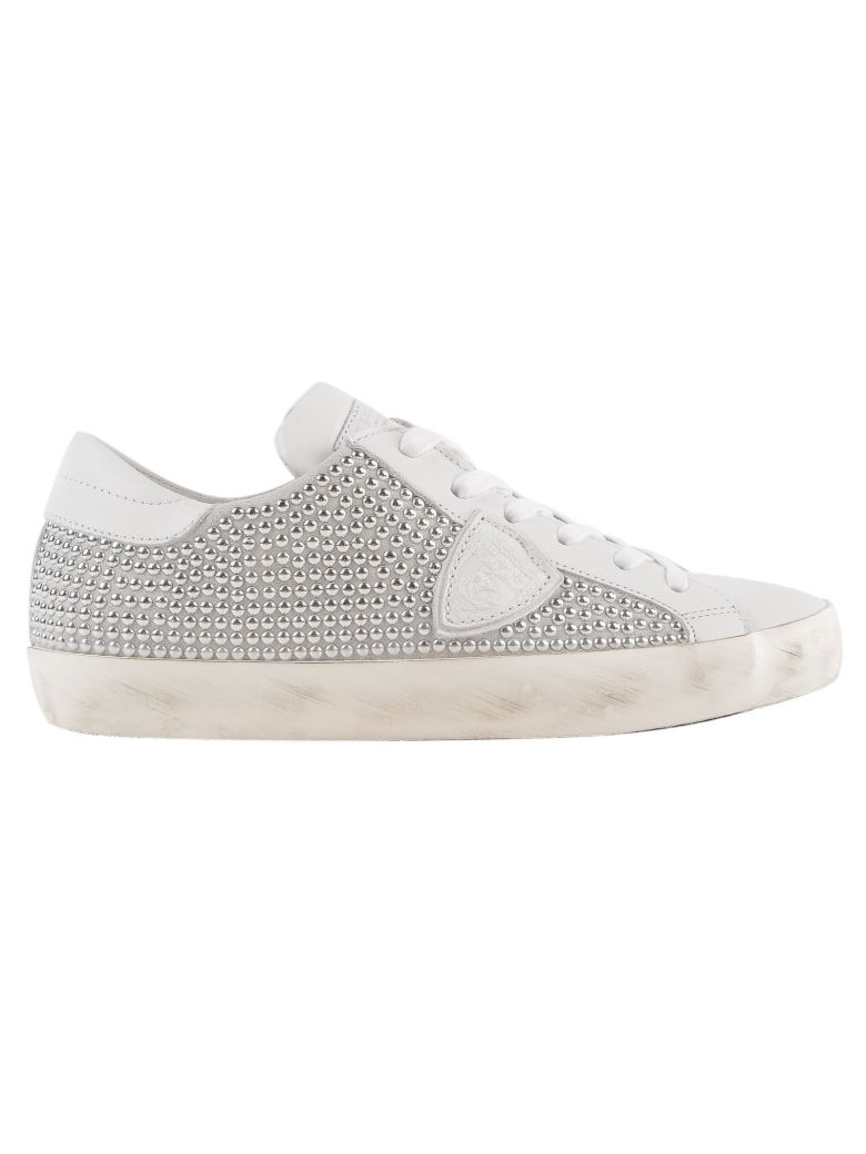 Women'S Shoes Leather Trainers Sneakers Paris in White