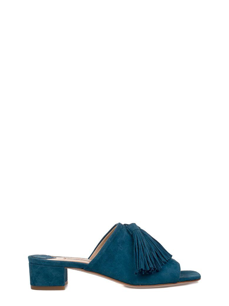 FABIO RUSCONI PEACOCK BLUE AMALFI SUEDE HEELED SANDAL