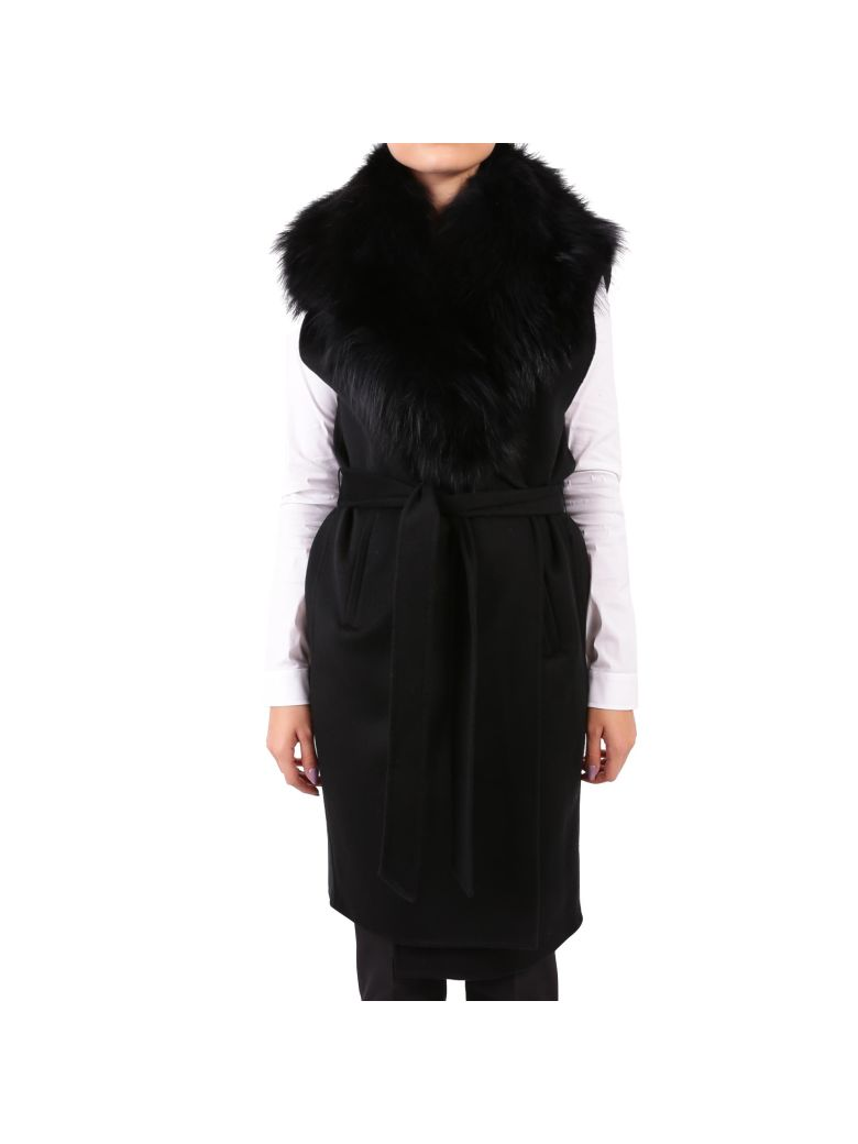 RIZAL WOOL AND CASHMERE COAT WITH FOX FUR