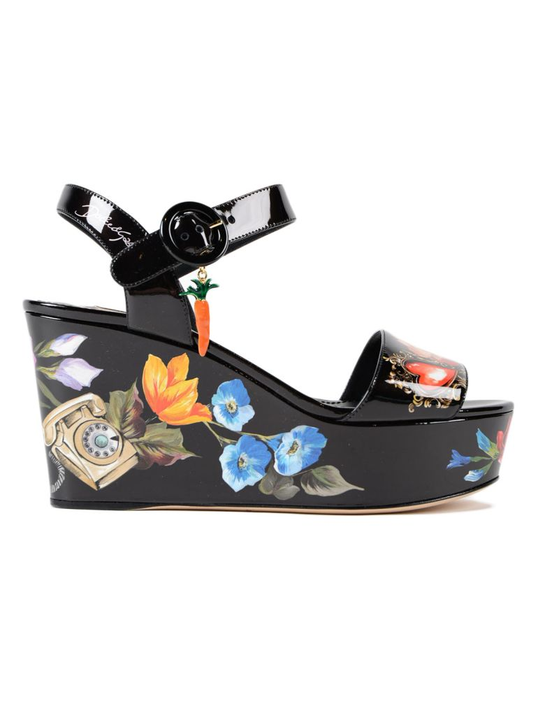 1f5dffec781486 Dolce   Gabbana Bianca Romantic Wedge Sandals In Hnmfiori-Telefoni F.Nero