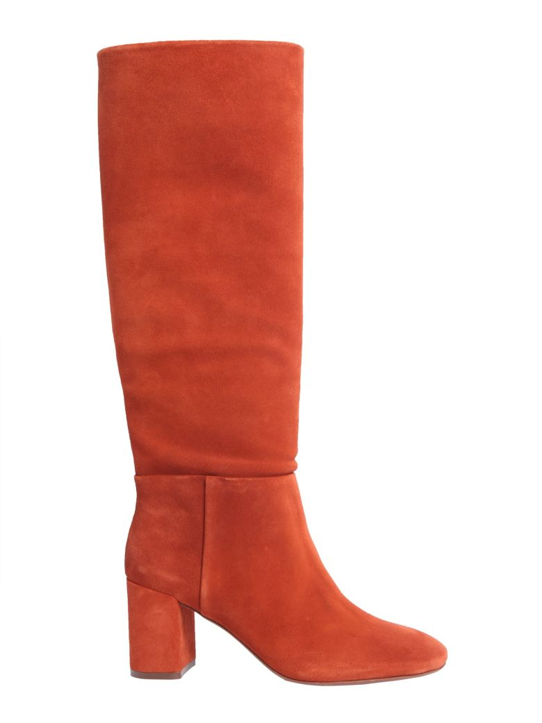 """Brooke Slouchy"" Boots In Suede Color Rust in Red"