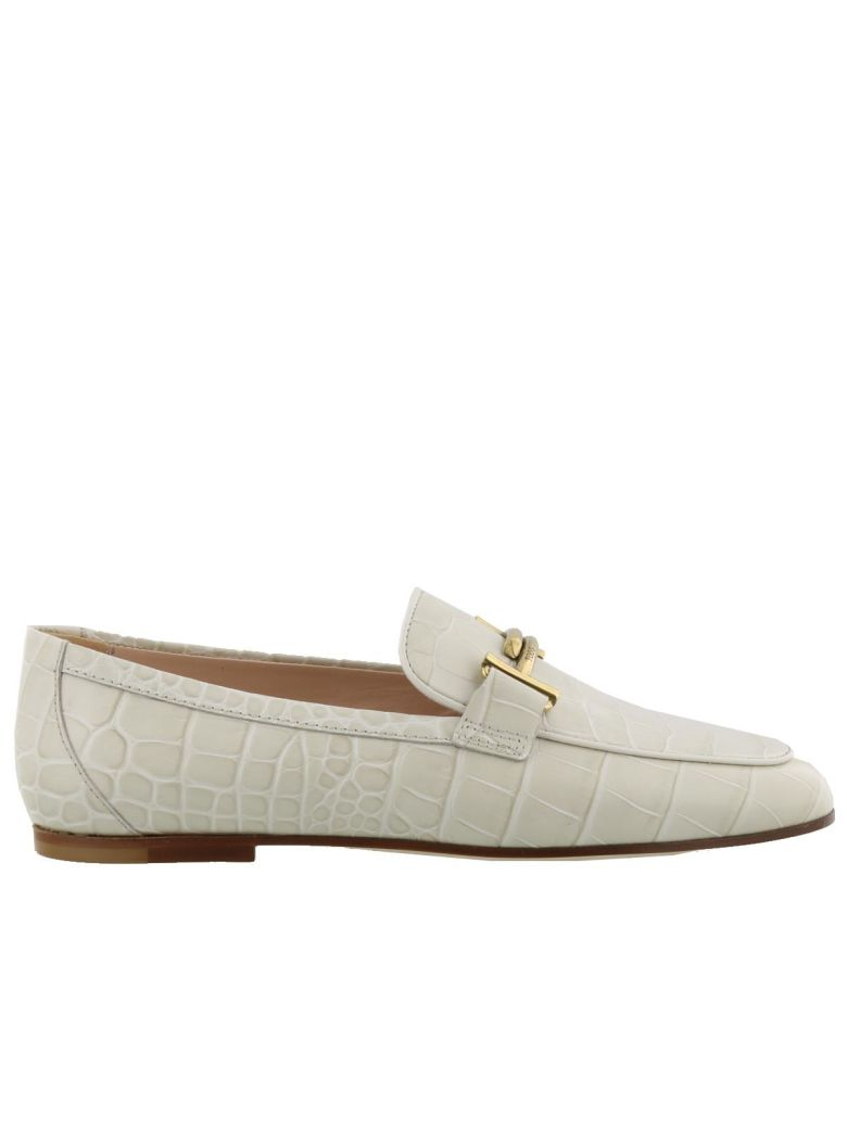 Double T Embossed Leather Loafers, White Cream