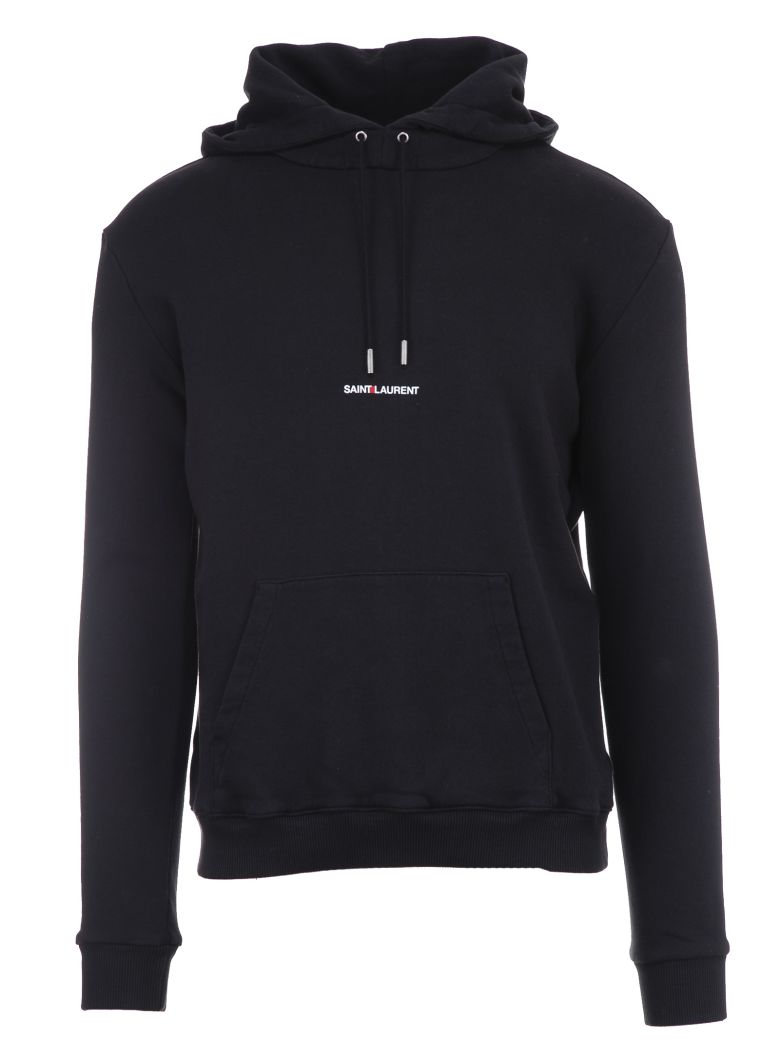 SAINT LAURENT Logo-Print Loopback Cotton-Jersey Hoodie - Black