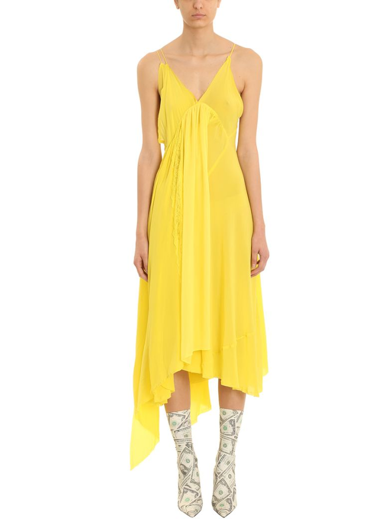 YELLOW SILK SLIP DRESS