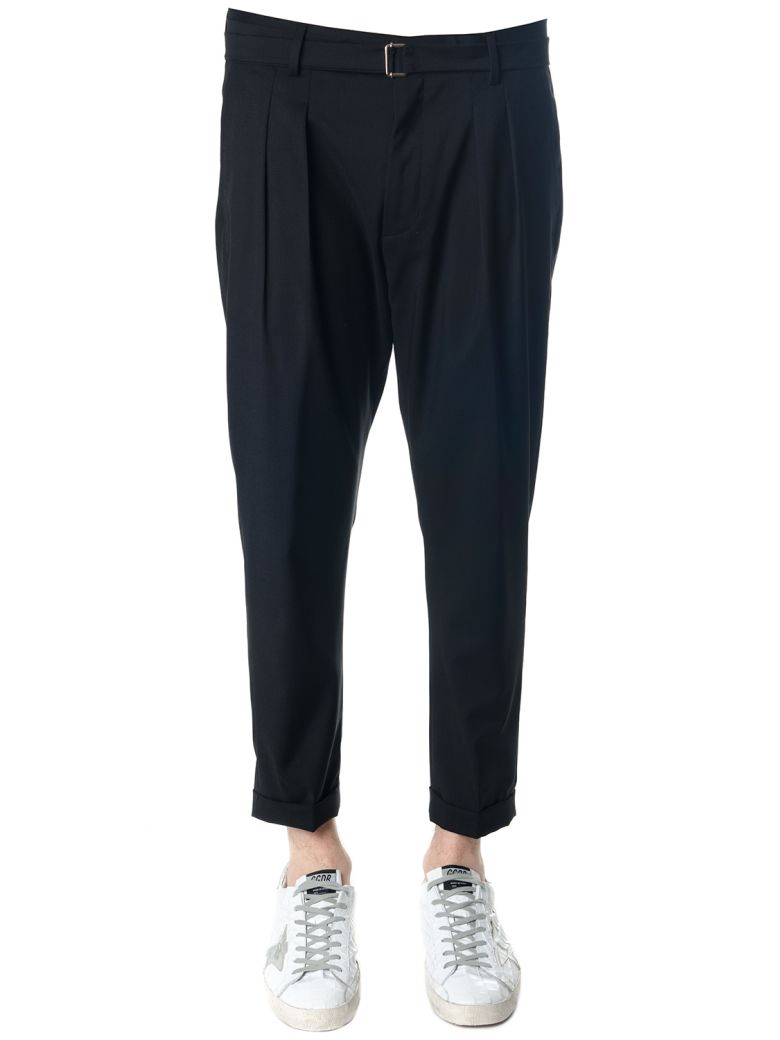 LOW BRAND BLACK COTTON TROUSERS