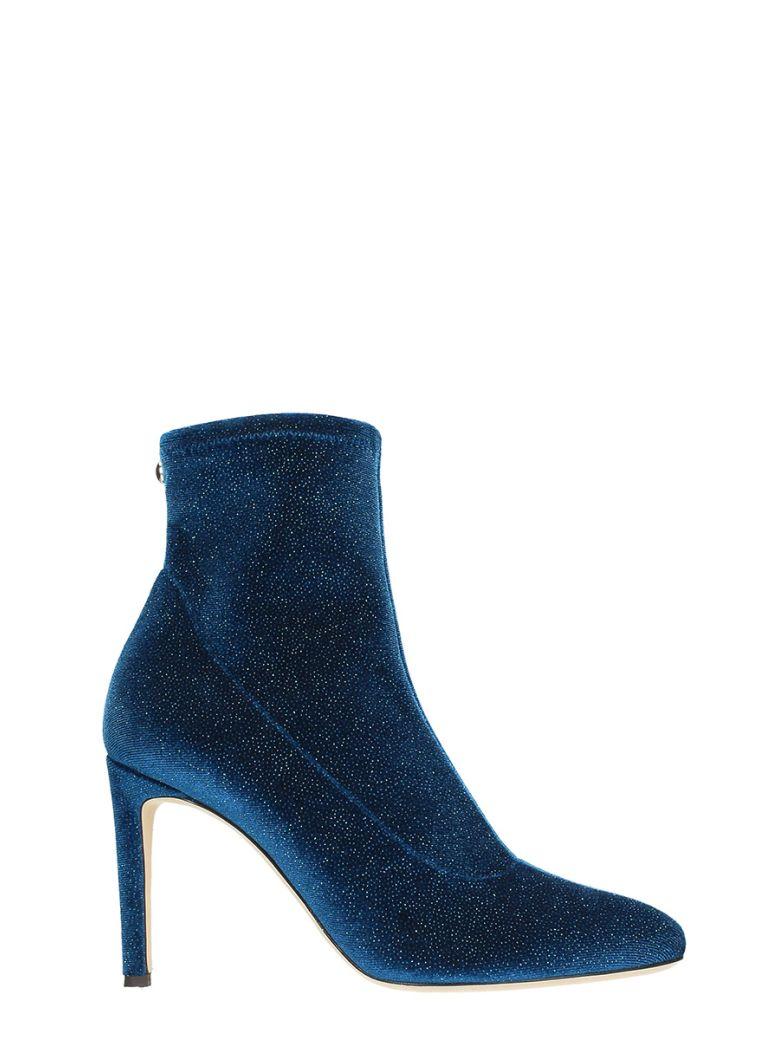 Celeste Velvet Blue Glitter Ankle Boots
