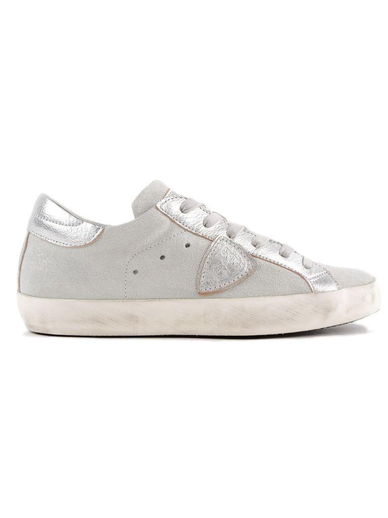 PHILIPPE MODEL Glitter Low-Top Sneakers in Grey