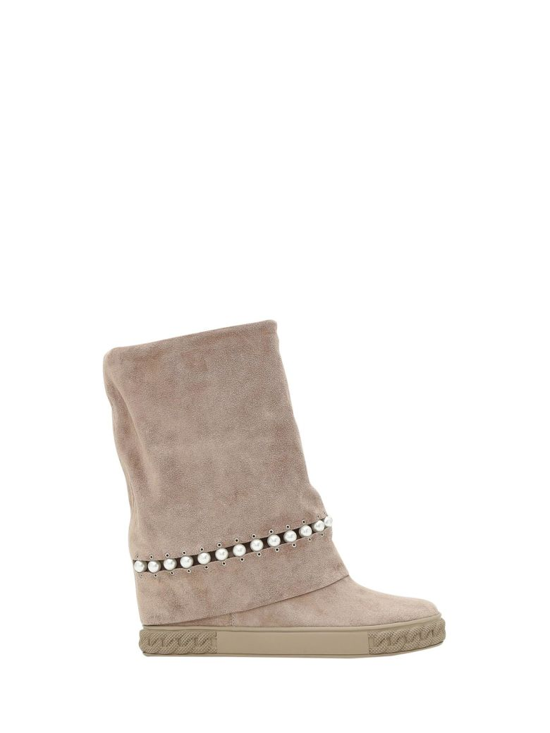 CASADEI Suede Boots With Gems Detail in Neutrals