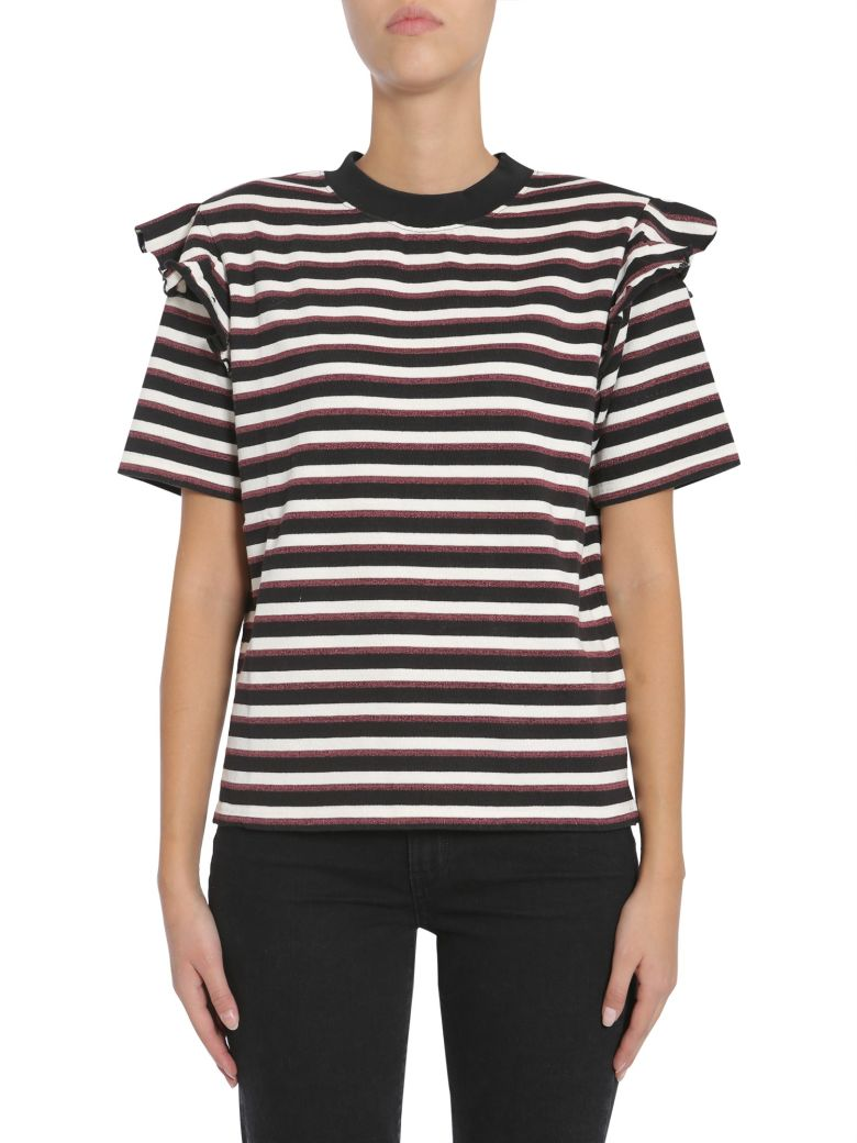KITSUNÉ Striped T-Shirt in Bordeaux