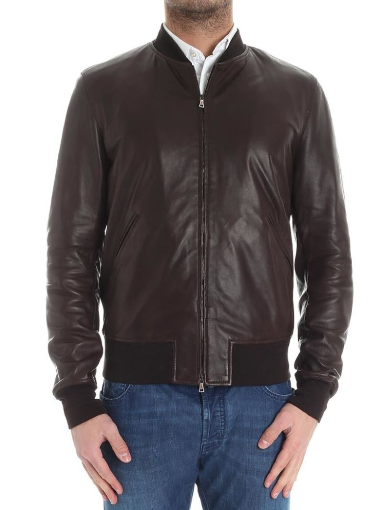 STEWART Leather Jacket in Brown