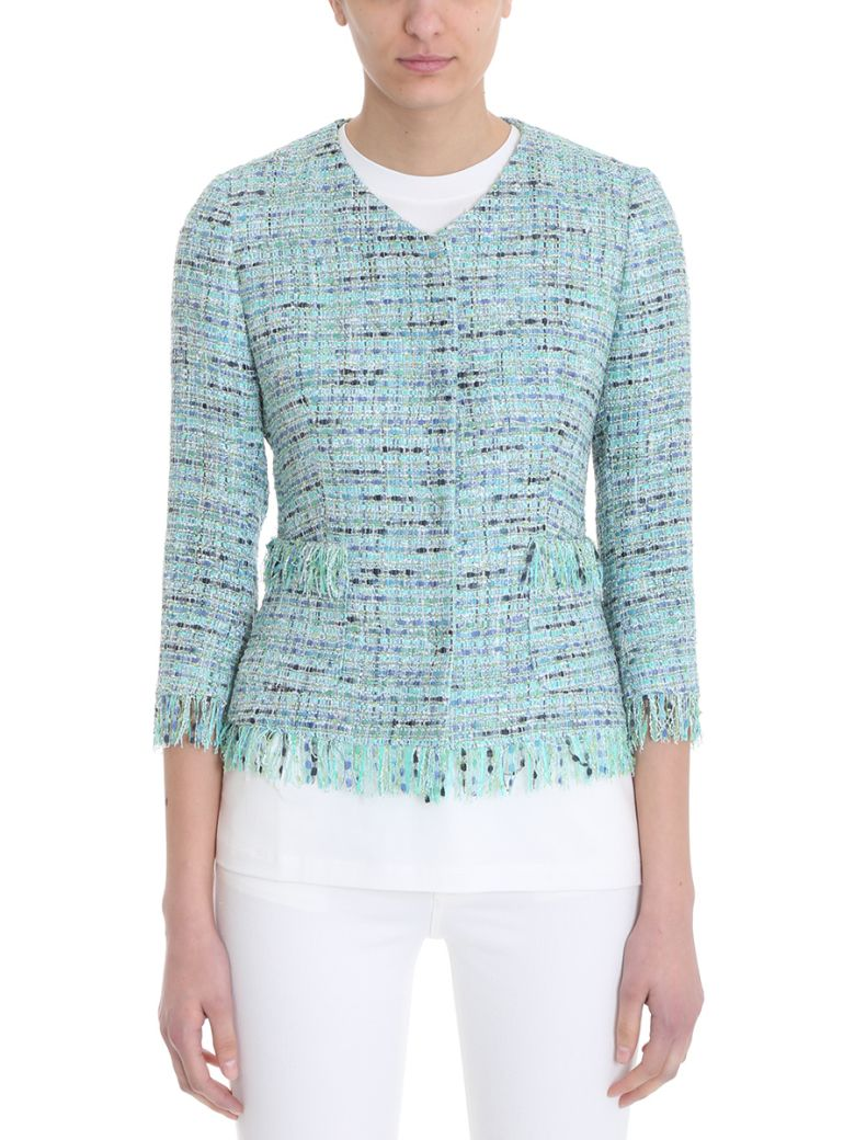 0205 MILLY GREEN COTTON-BLEND BOUCL? JACKET